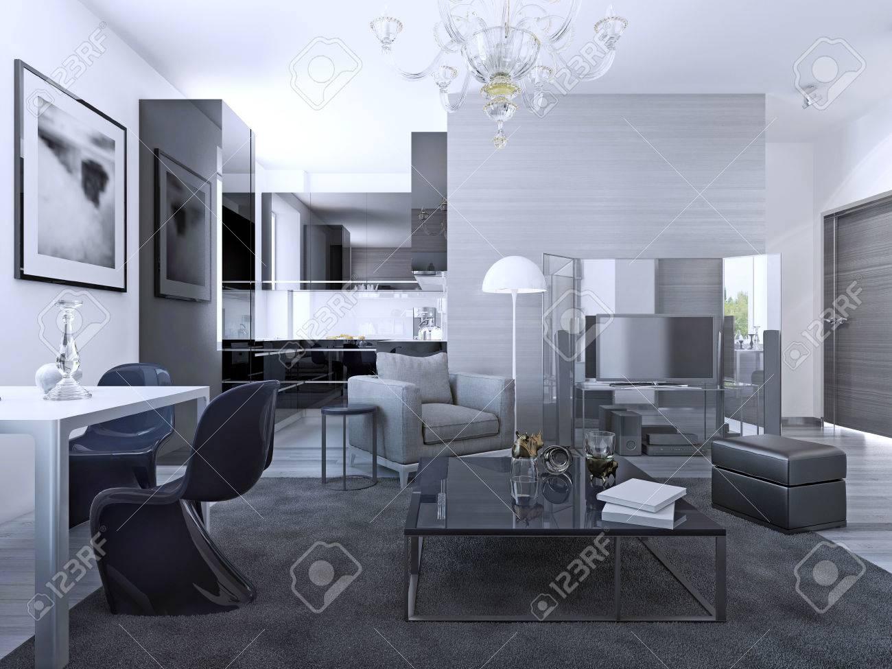 Contemporain salon studio. murs gris clair, mobilier, cuisine élégante de  fond. 3D render