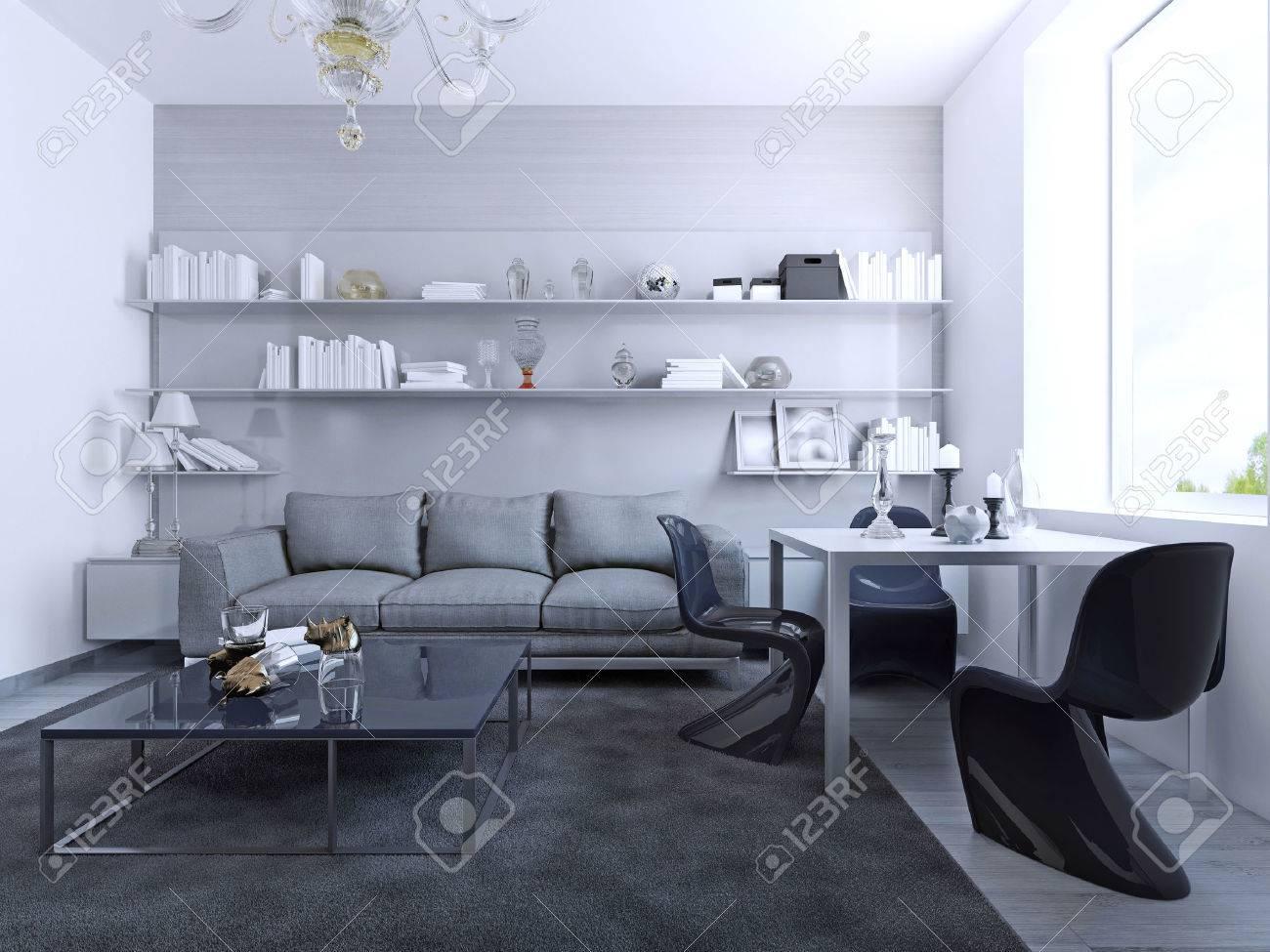 Vista De La Sala De Estar Con Mesa De Comedor. Diseño Contemporáneo ...