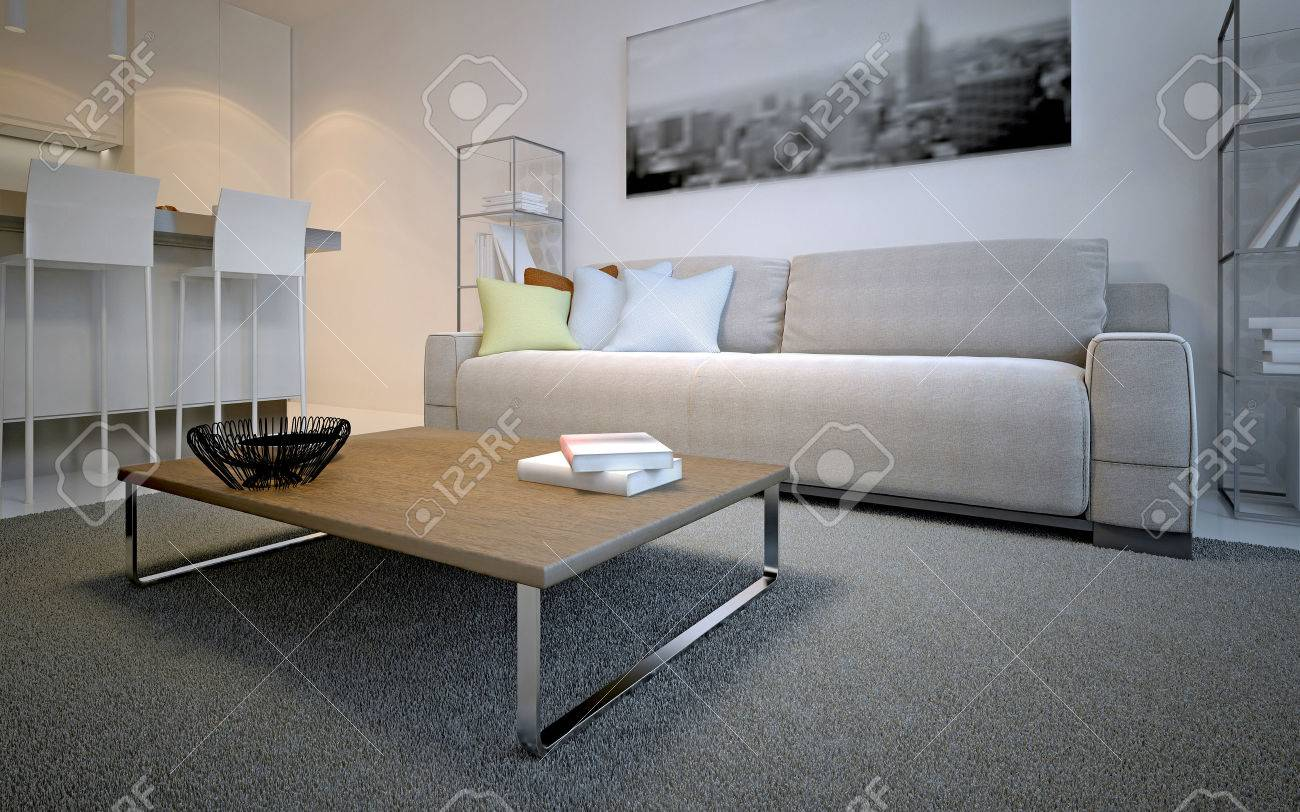 Scandinavian Lounge Room Design Simple Table On Thick Pile Carpet In Front Of Cosmic Latte