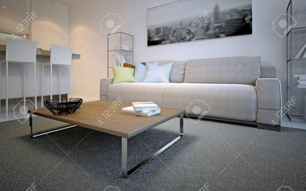 scandinavian lounge room design simple table on thick pile carpet rh 123rf com simple tv lounge design simple tv lounge design