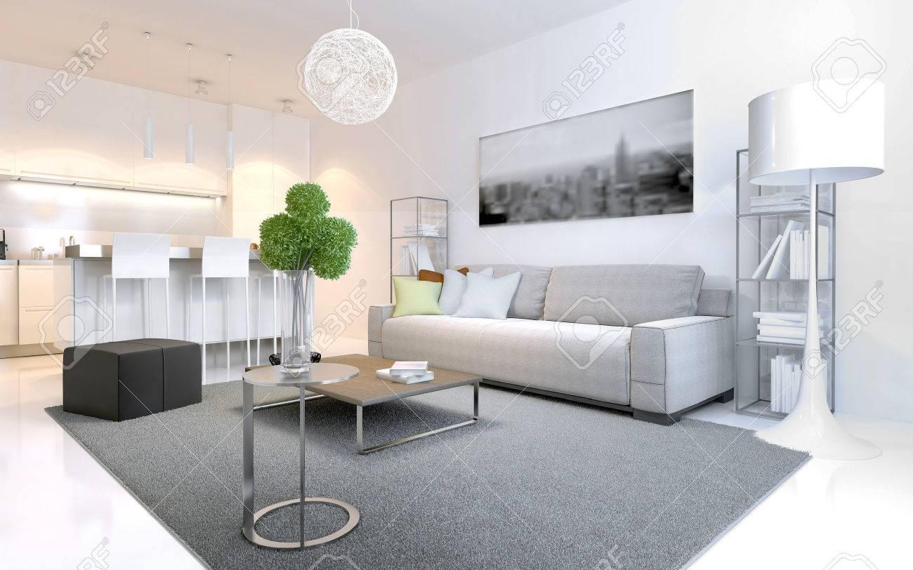 Appartements De Style Scandinave. Intérieur Lumineux Avec Cuisine élégante  De Couleur Blanche. Meubles.