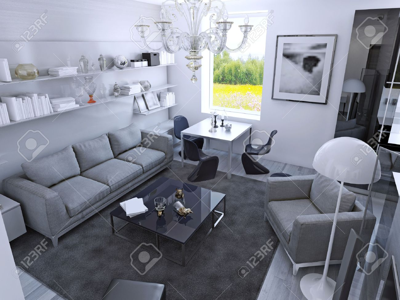 Moderne Wohnzimmer Bei Tageslicht. Raum Mit Esstisch Im Gotischen ...