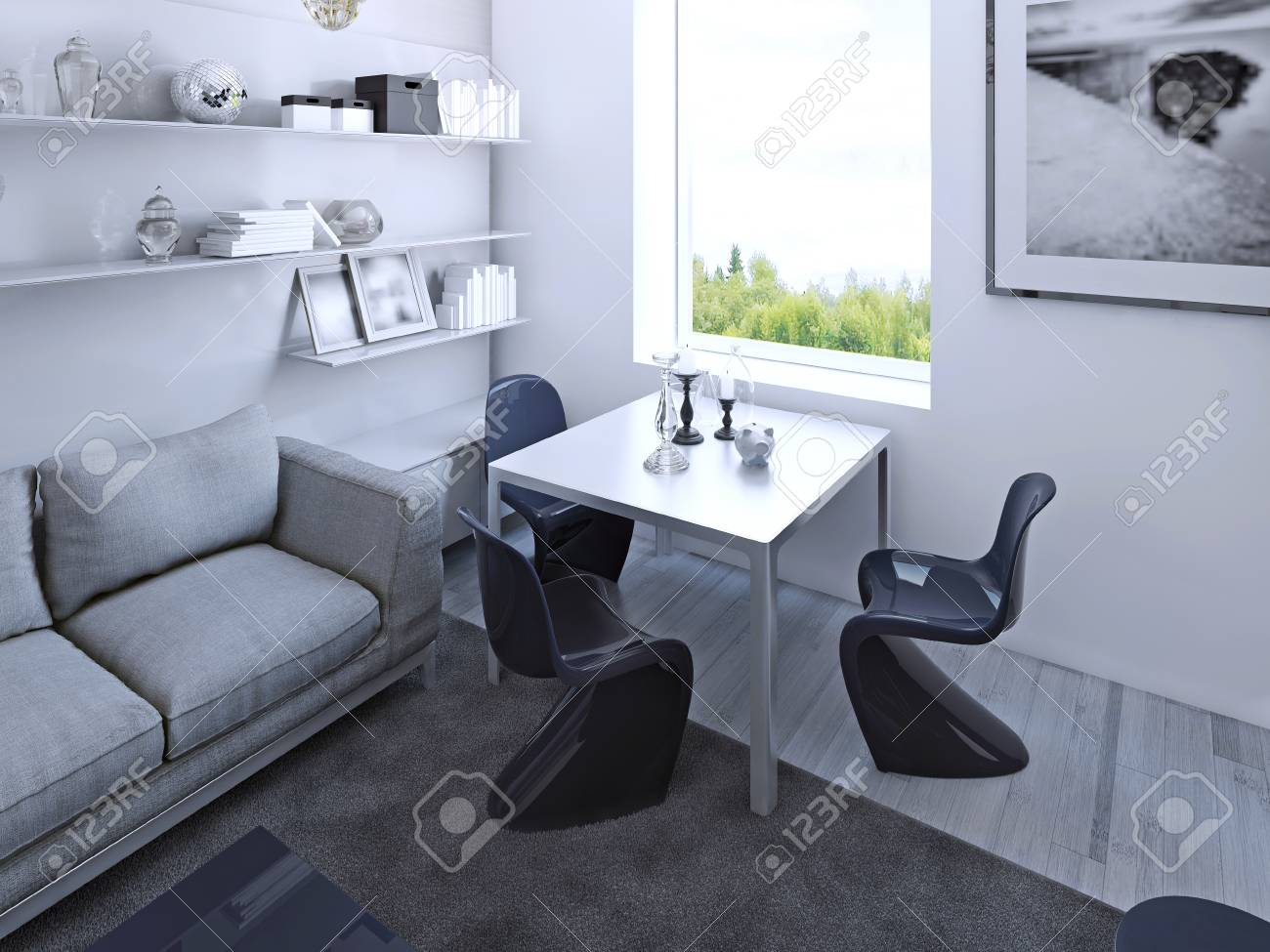 Gothic dining table with dark blue chairs in lounge room. White..