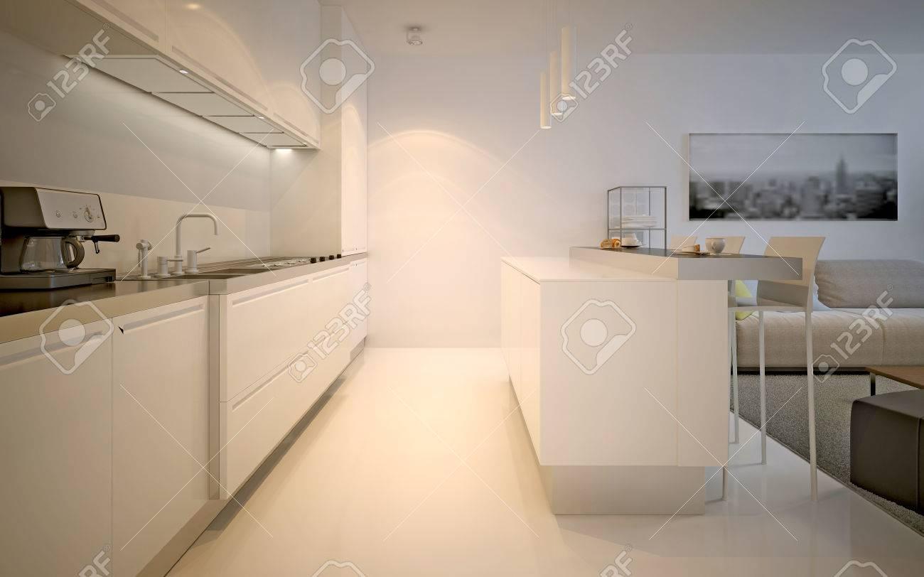 Kitchen studio modern design bright white kitchen with ecru