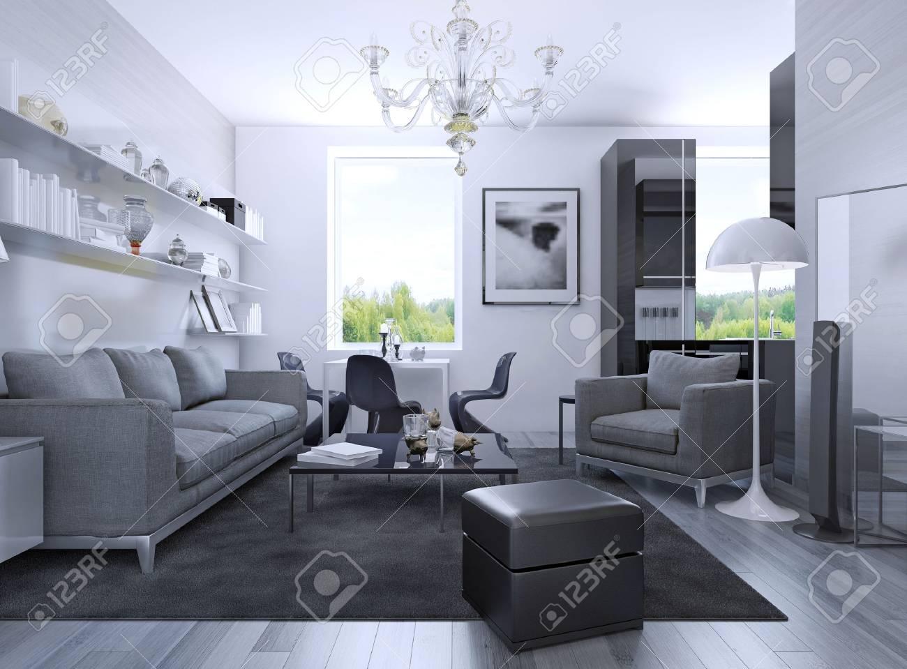 Wohnung studio in art deco stil. 3d übertragen lizenzfreie fotos