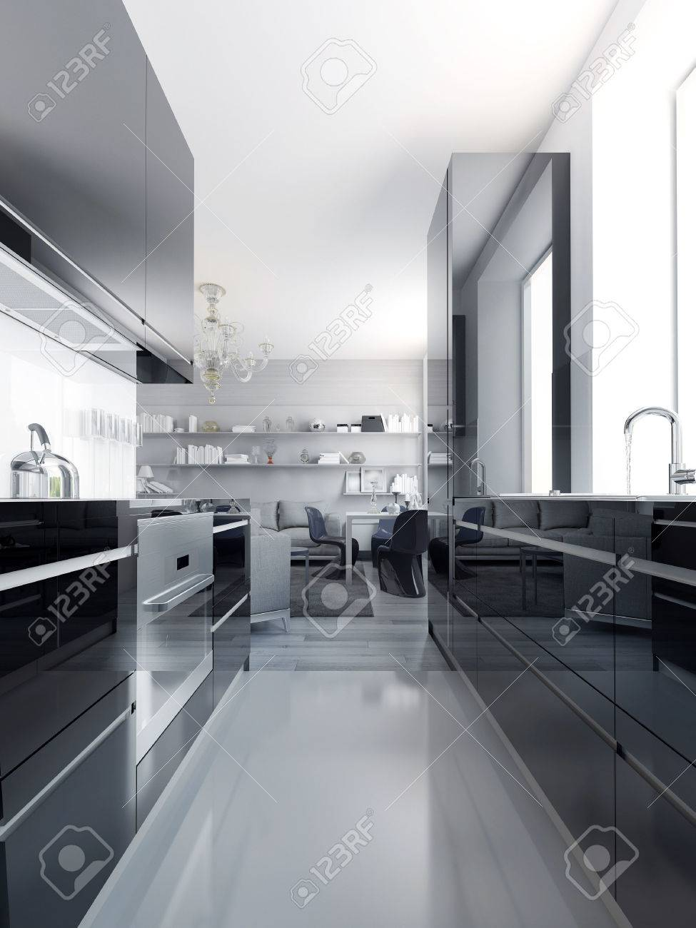Modern Black Kitchen Interior. Glossy Cabinets Black Color With ...