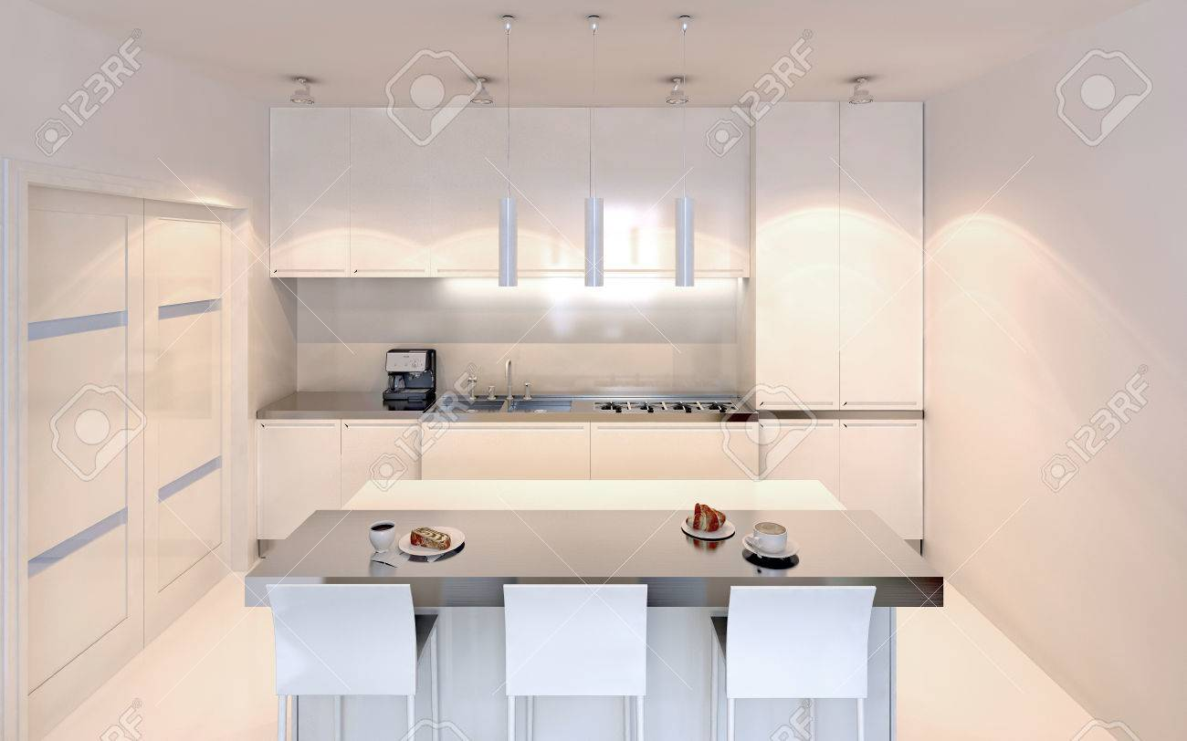 Bright Kitchen With Island Bar Contemporary Style. White Furniture ...