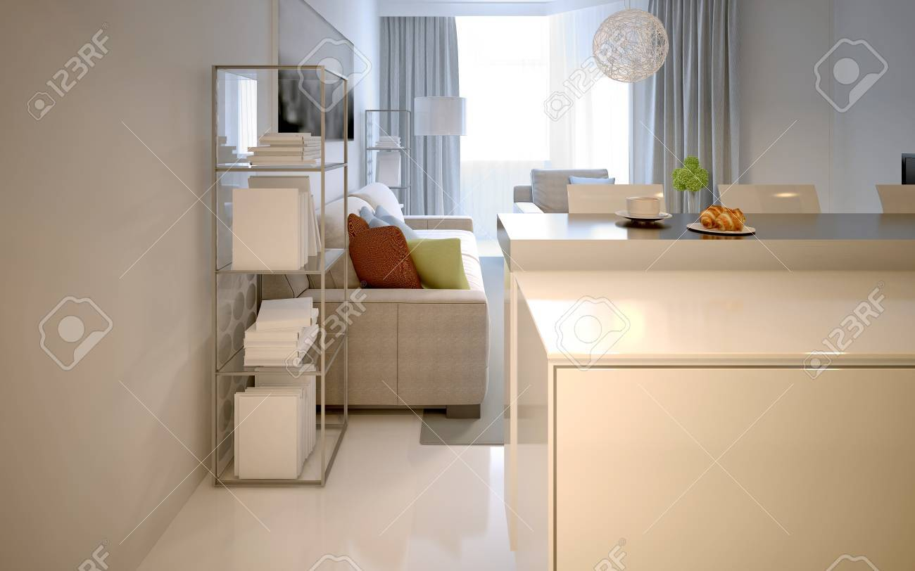 Wohnzimmer Modernen Stil Mit Bar. Weiß Innenraum. 3D übertragen  Standard Bild   46415687