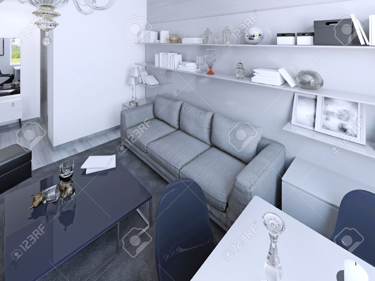 White Living Room Contemporary Style. Navy Color Coffe Table And Chairs.  Wall System With