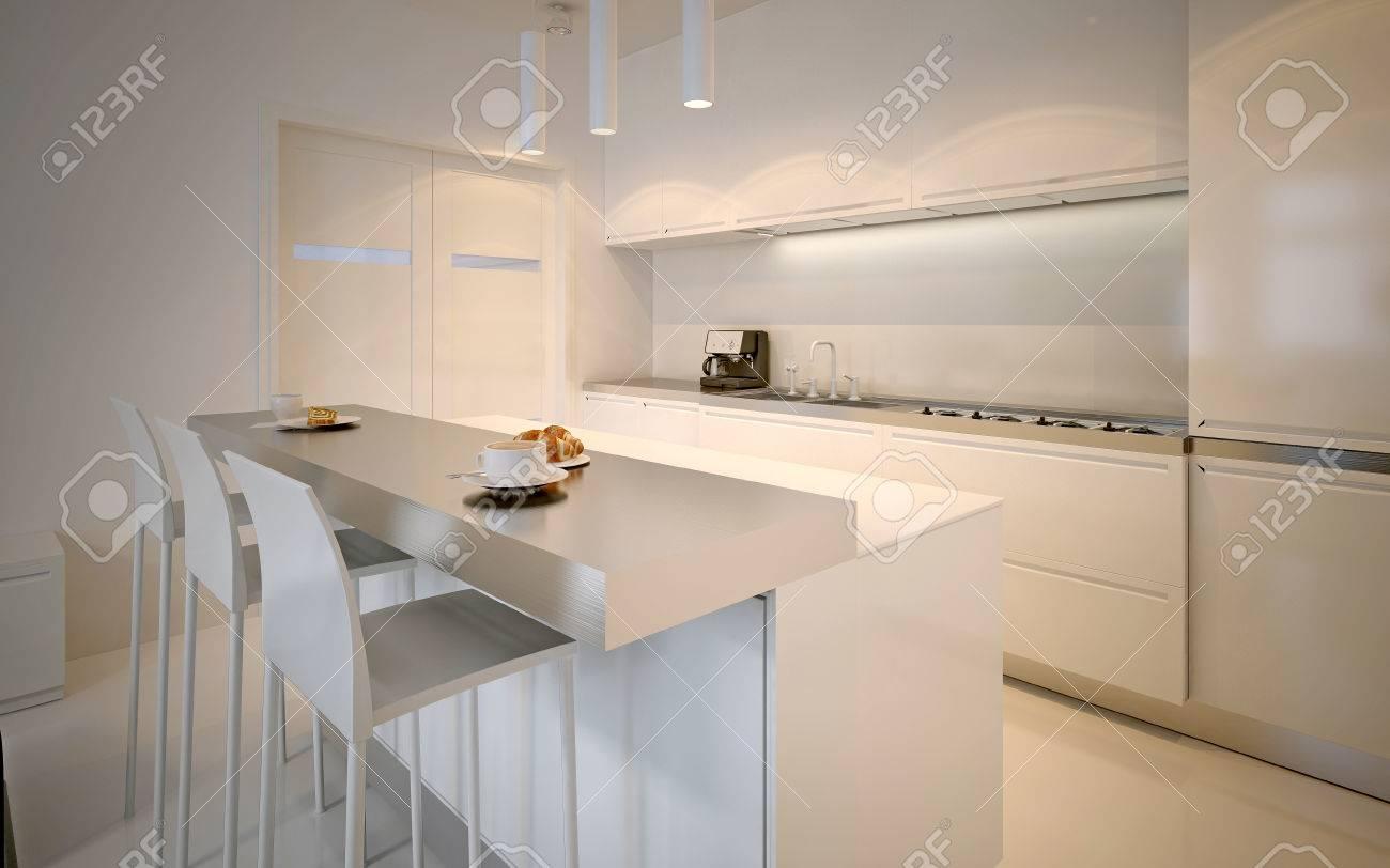 idée de la cuisine scandinave. armoires glossy, acrylique travail