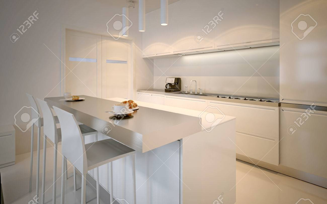Idea Of Scandinavian Kitchen. Glossy Cabinets, Acrylic Working Countertops,  Neon Lamps. 3D