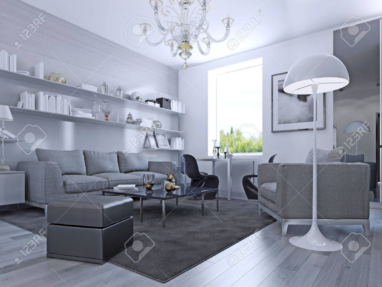 Living Room In Modern Style Elegant With White Walls And Light Grey Laminate