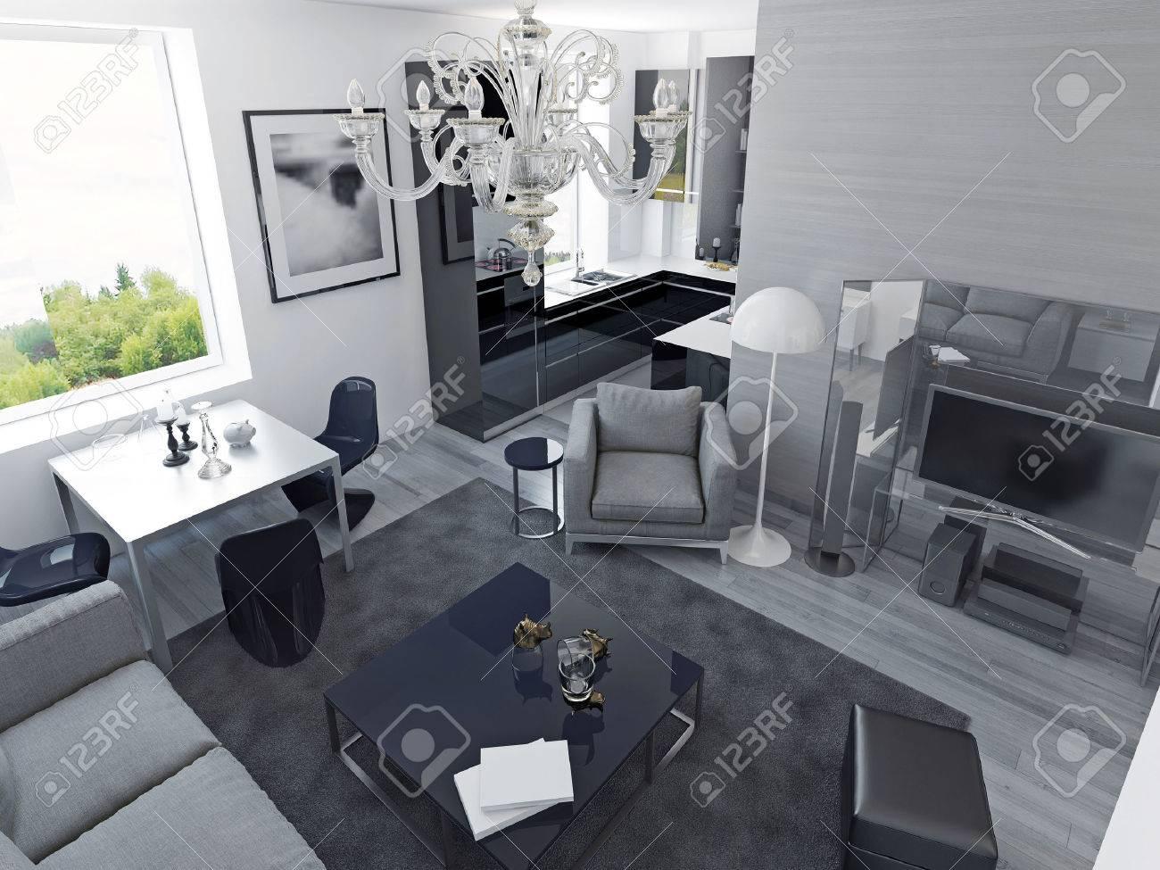 Appartements de luxe de style moderne. Salon studio avec salle à manger et  cuisine de couleur noire, coûteux centre des médias. 3D render