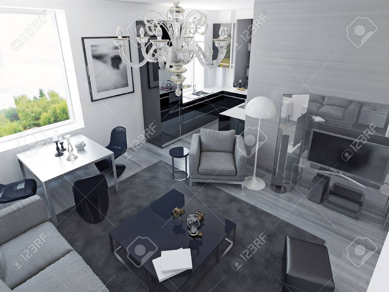 Luxury Apartments Modern Style Living Room Studio With Dining And Black Colored Kitchen Expensive