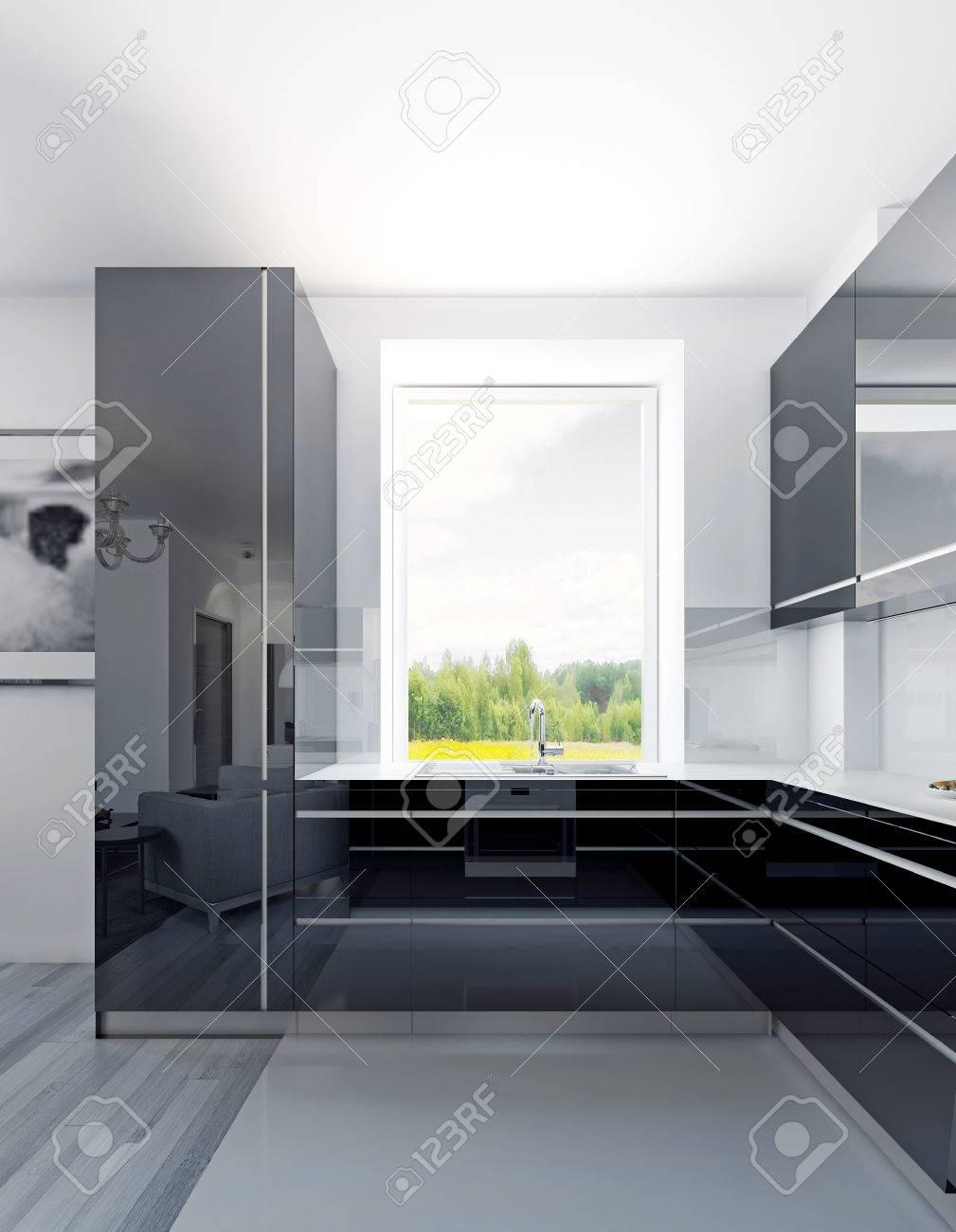 Cocina De Lujo Con Luz De Día. Muebles De Acrílico Negro A Color Con ...