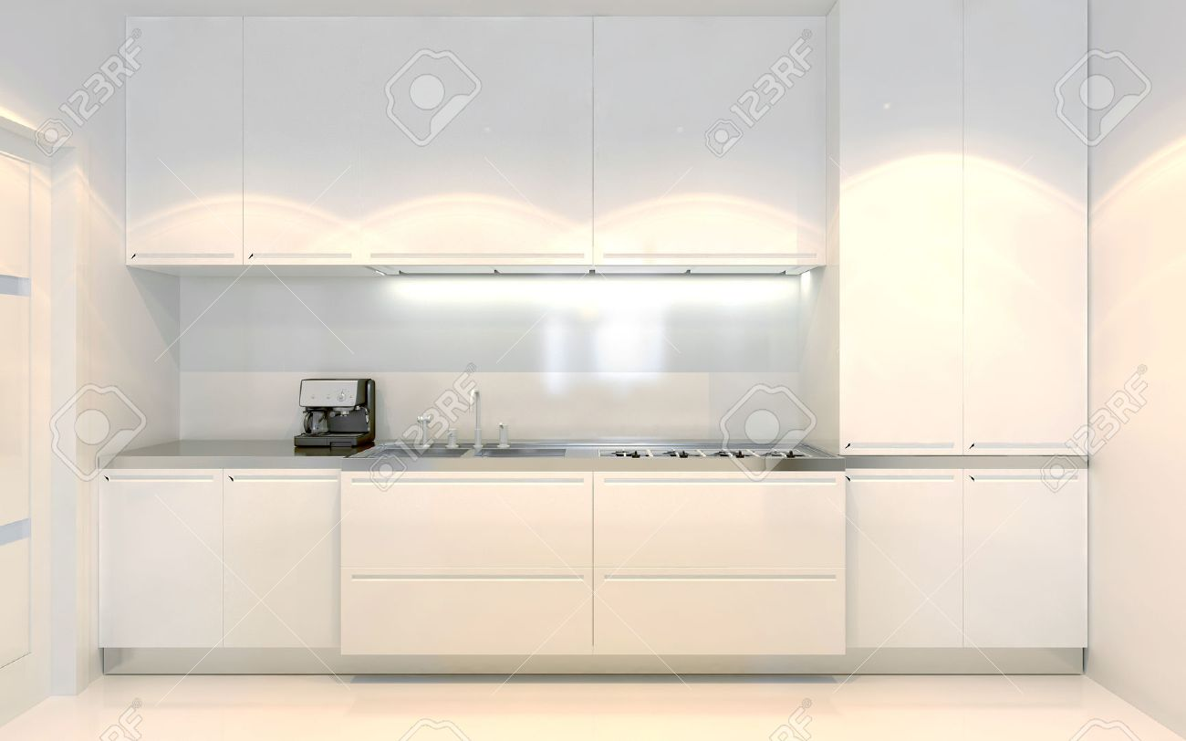 trend design furniture. Contemporary Kitchen Trend. White Furniture With Ecru Decoration. Front View. Using Of Trend Design