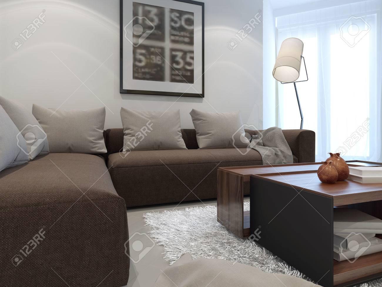 Hôtel salon blanc avec un mobilier marron. 3D render