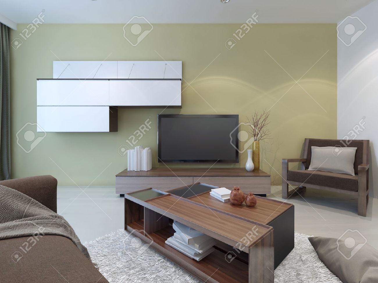 Geräumiges Wohnzimmer Design. Leichte Wände Und Böden, Dunklen ...