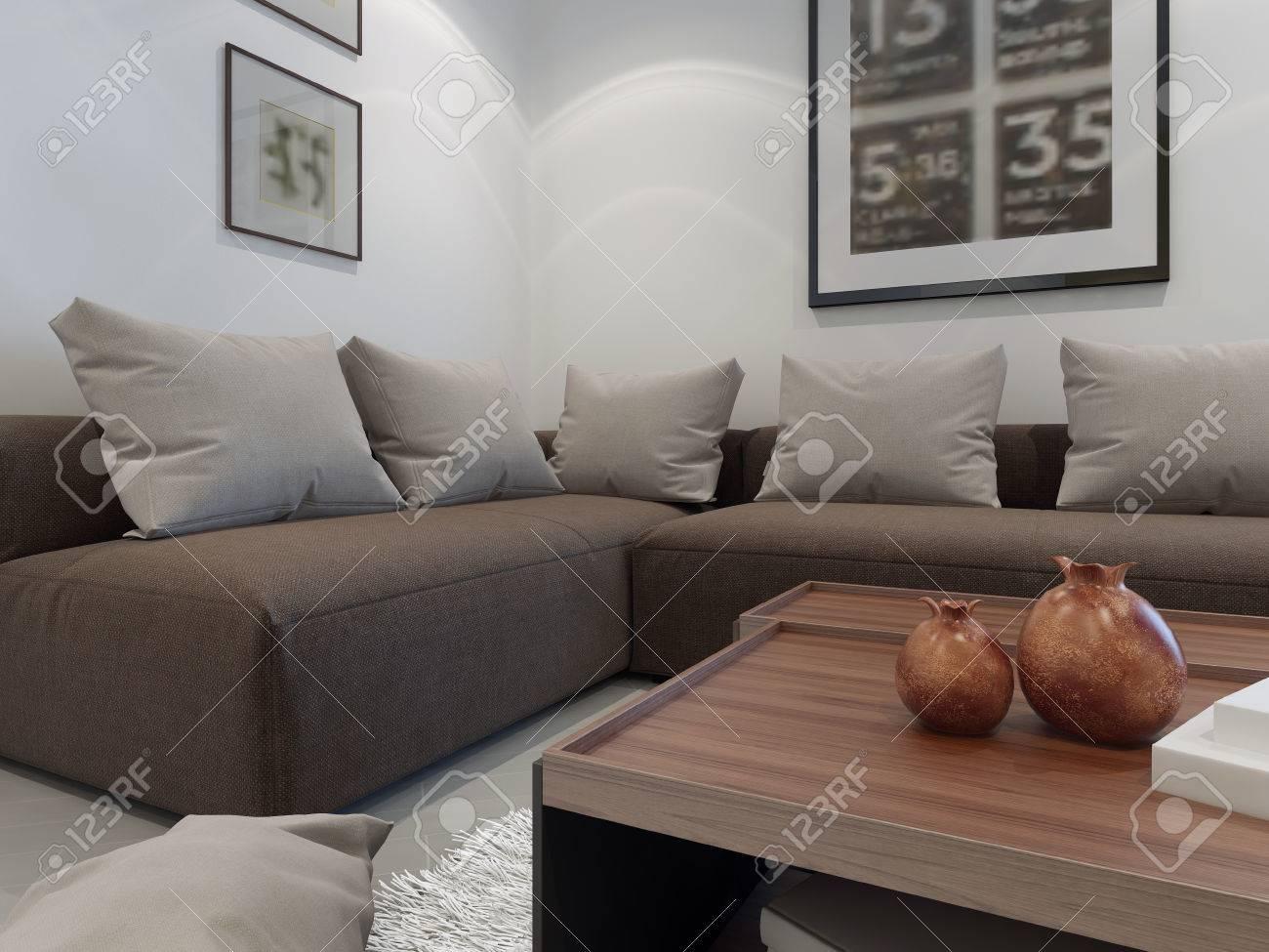 Muebles Tapizados En El Interior De Una Casa Privada. Cornes Sofá ...