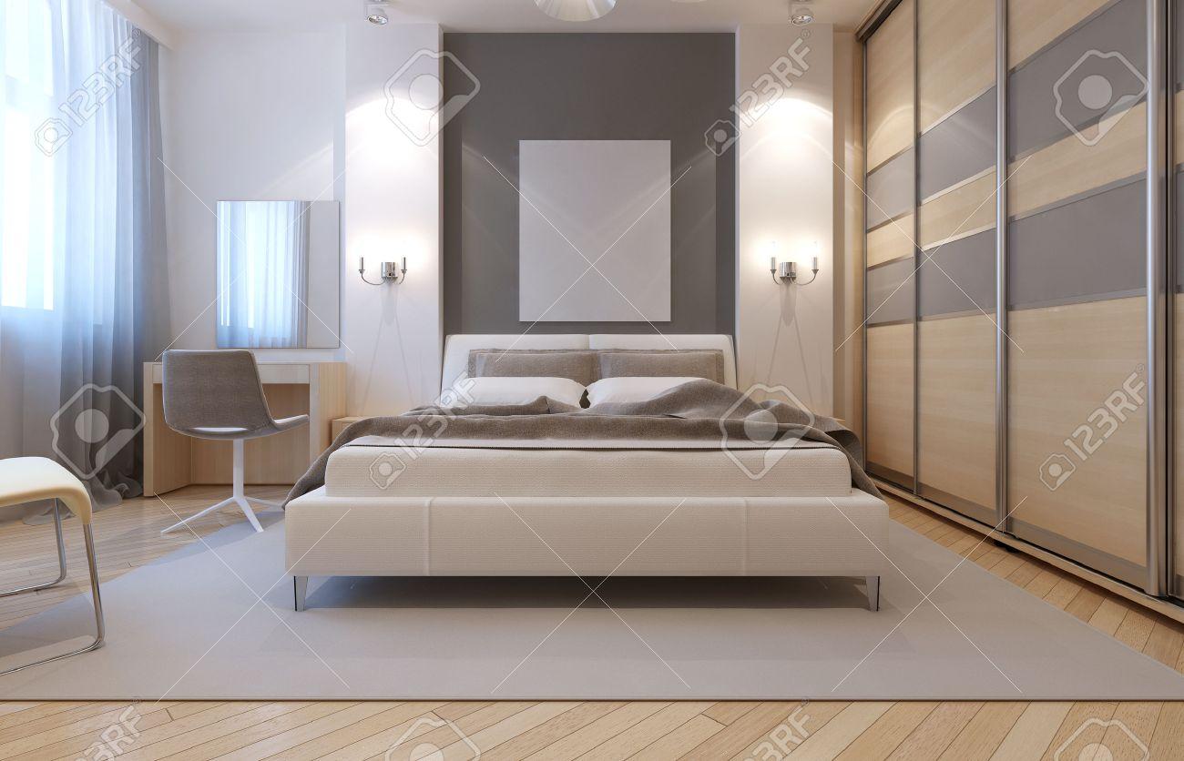 Master-Schlafzimmer Avangard Design. Weiche Doppelbett, Schminktisch ...