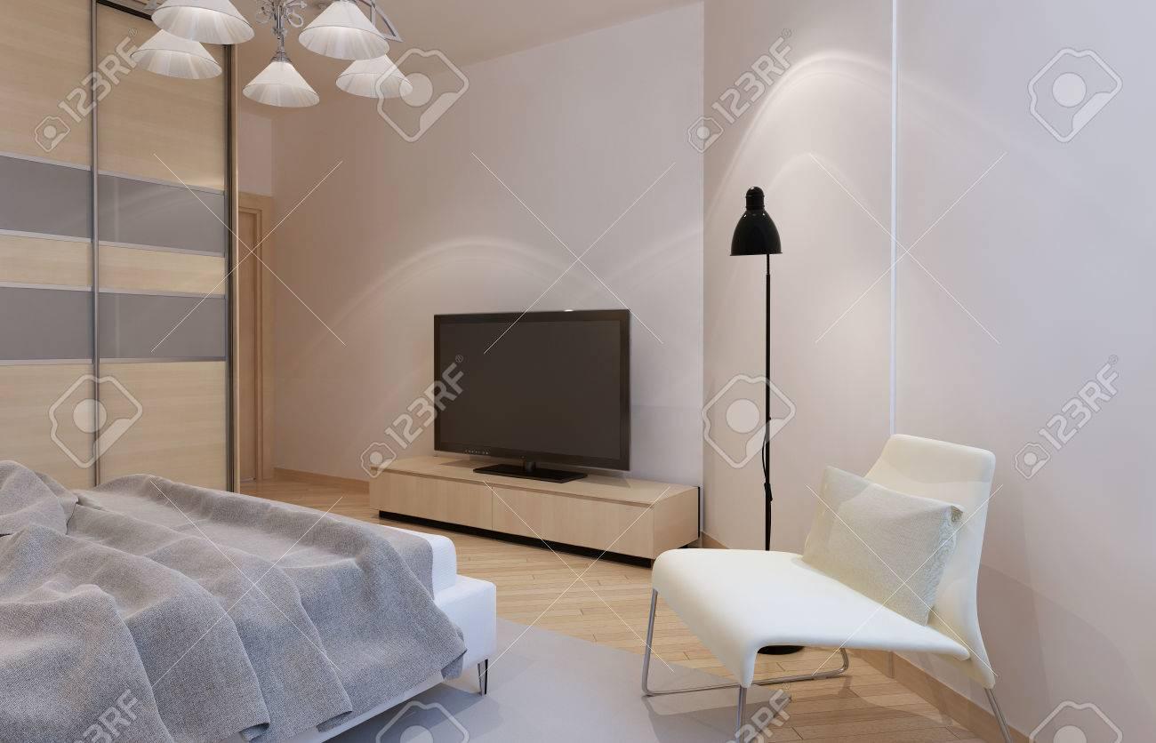 Lichte slaapkamer interieur met lichte bisque kleur meubilair. 3d ...