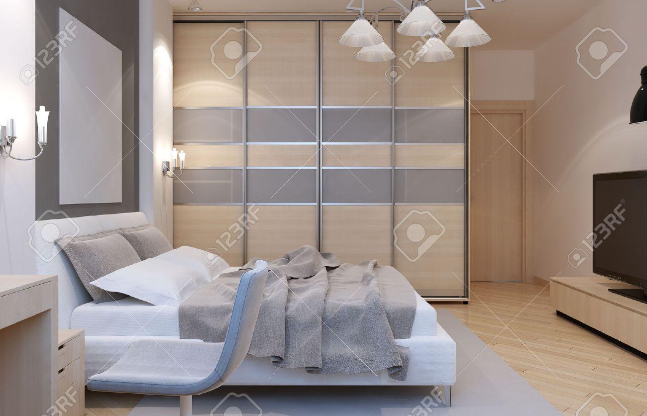 Slaapkamer Art Deco Stijl. Grote Kast Met Schuifdeuren, Witte ...