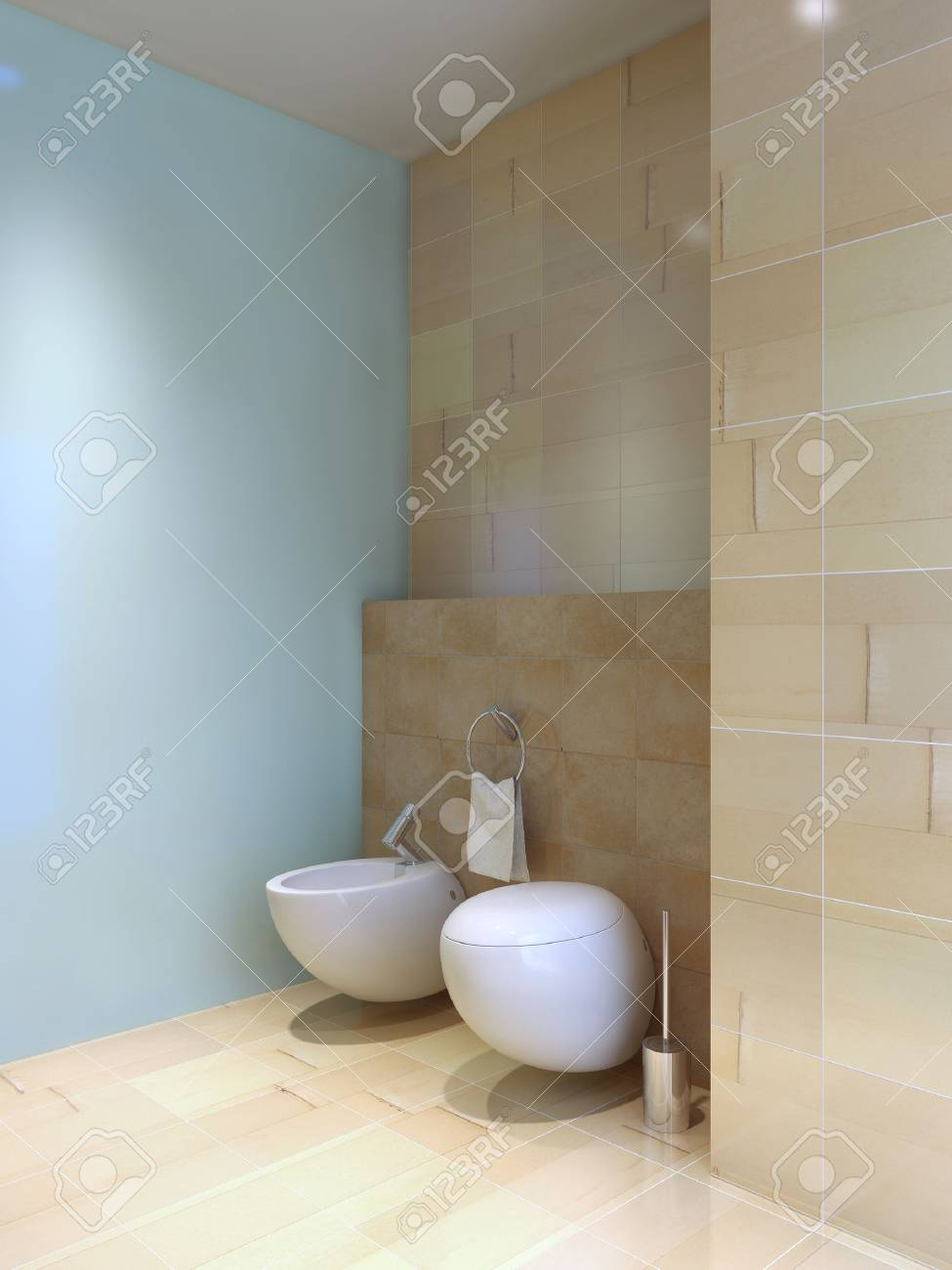 Toilet And Bidet Near Tiled Wall. Fusion Styled Interior Of Wc ...