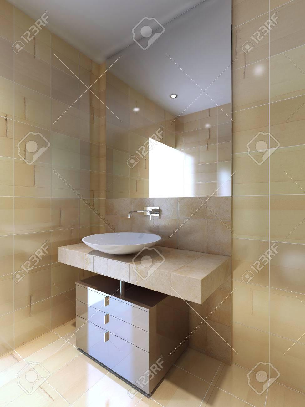 Ein Modernes Bad Mit Waschbecken Konsole In Beige Und Nazi Weiß. 3D  übertragen Standard