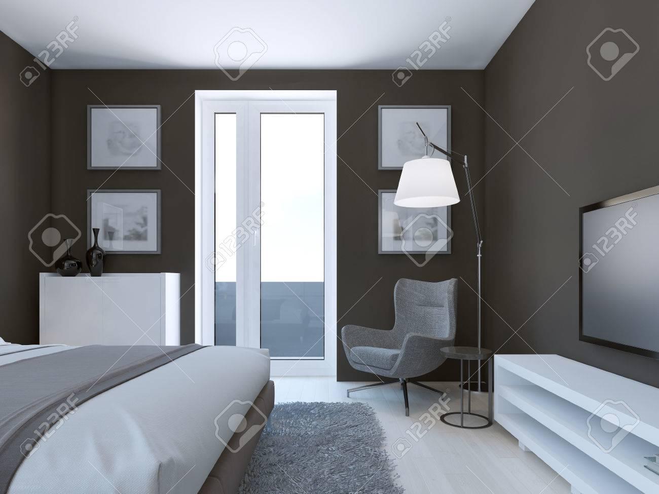 Diseño Acogedor Dormitorio Marrón Con Muebles De Color Blanco Y Gris ...