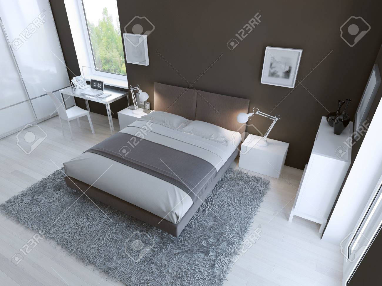 Hightech Bedroom Interior With Thick Pile Carpet Of Light Grey - High tech bedroom design