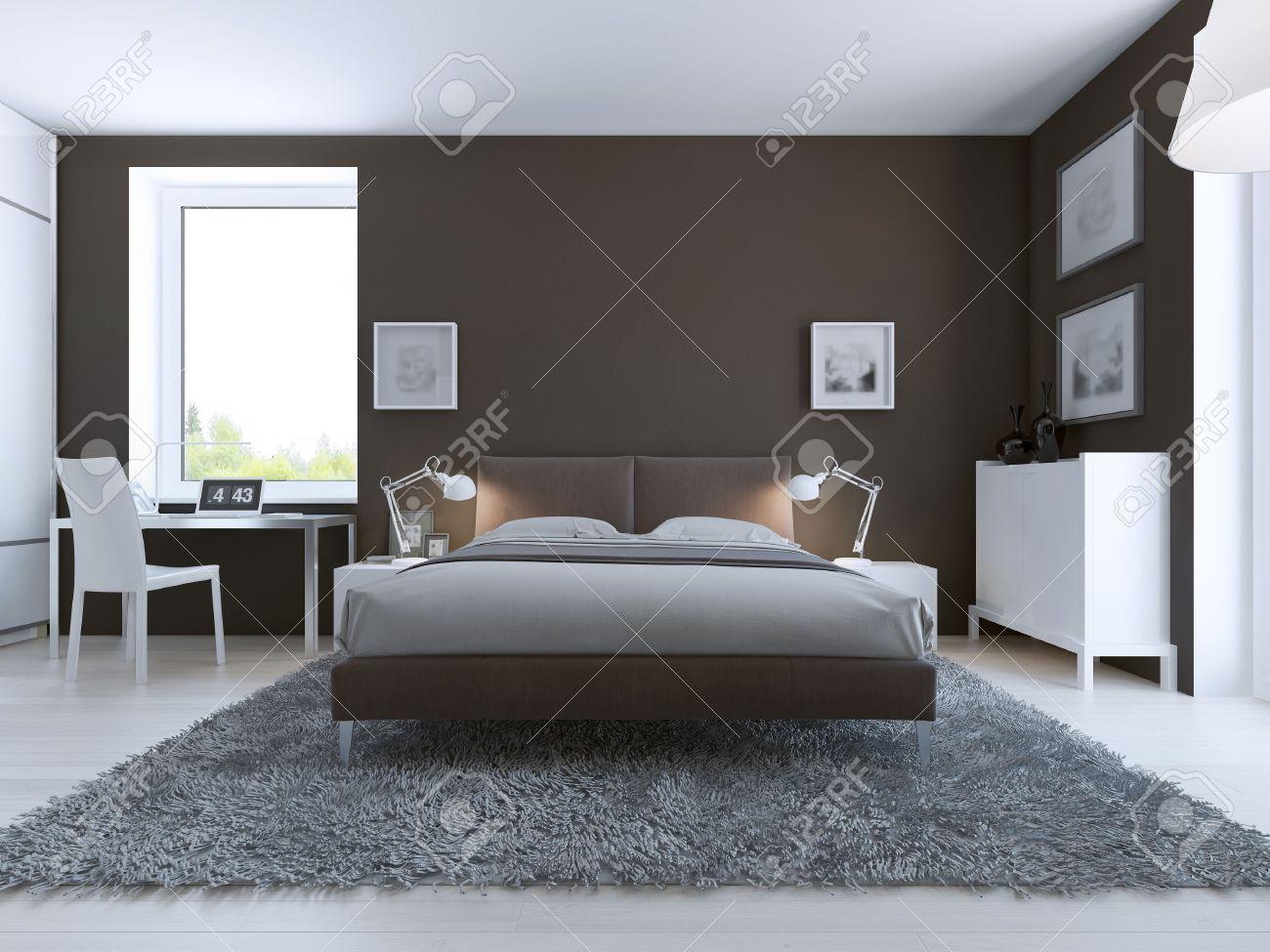 Elegantes Schlafzimmer Interieur. Große Gekleidet Bett In Der Mitte ...