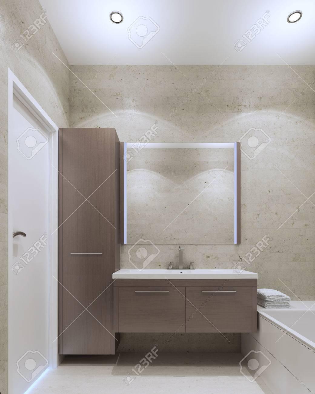 Banque Du0027images   Minimaliste Intérieur Privé De Salle De Bains Avec Du  Plâtre Texturé Mur De Couleur Gris Olive Et Meubles De Taupe Moyen. 3D  Render
