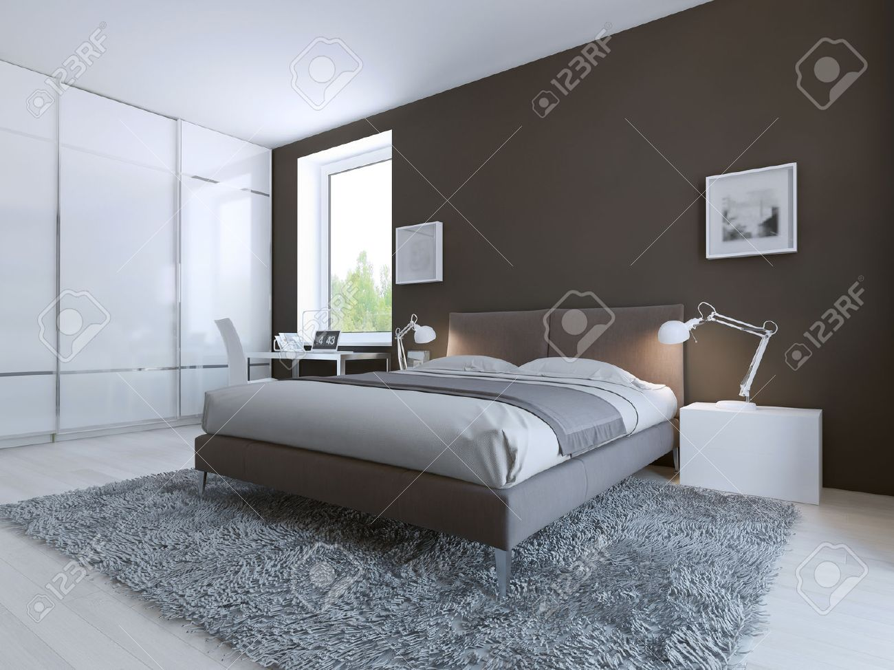 Minimalist Bedroom For Good Rest Large Floor To Ceilin Closet With Sliding Doors White