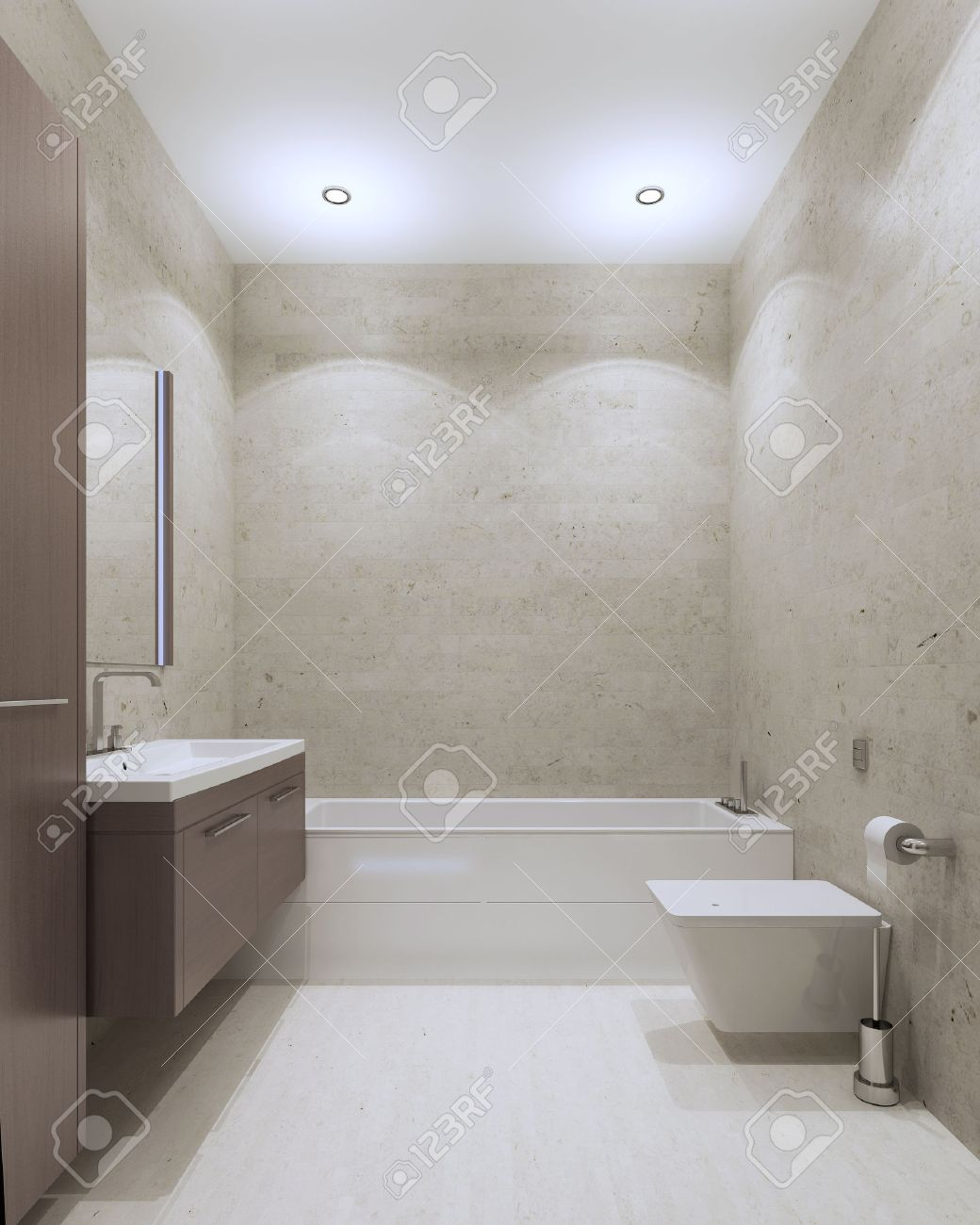 Bathroom Contemporary Style With Textured Plaster Wall And Ceiling  # Muebles Para Wc
