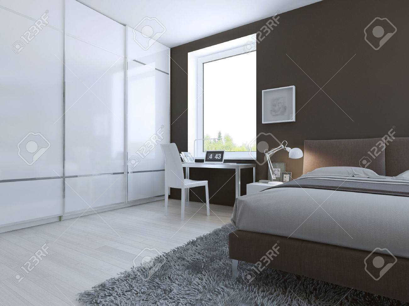 Work Place In Hightech Bedroom D Render Stock Photo Picture - High tech bedroom design
