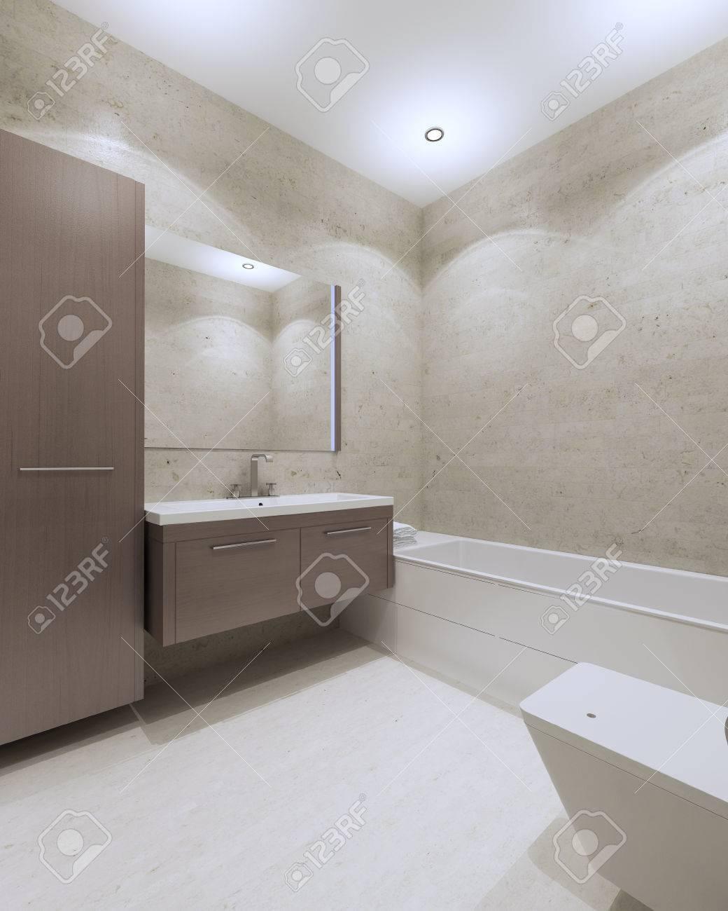 Cuarto De Baño Moderno Con Muebles De Color Marrón, Un Gran Espejo ...