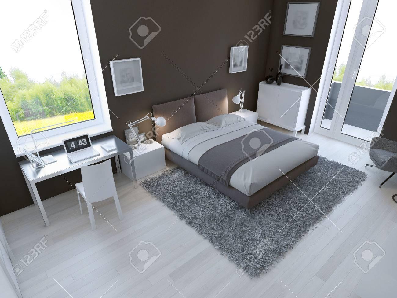 Braune Farbe Im Inter Von Schlafzimmer 3d Ubertragen Lizenzfreie
