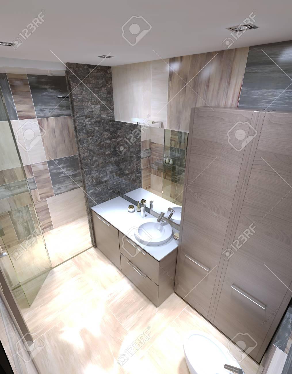Schöne Große Badezimmer In Luxus-Haus. 3D übertragen Lizenzfreie ...