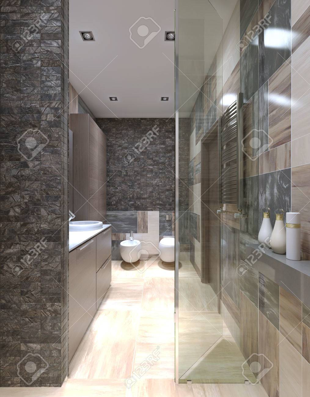 Contemporary Bathroom Design With Using Of Small Tiles On Walls, View From  The Shower Stall