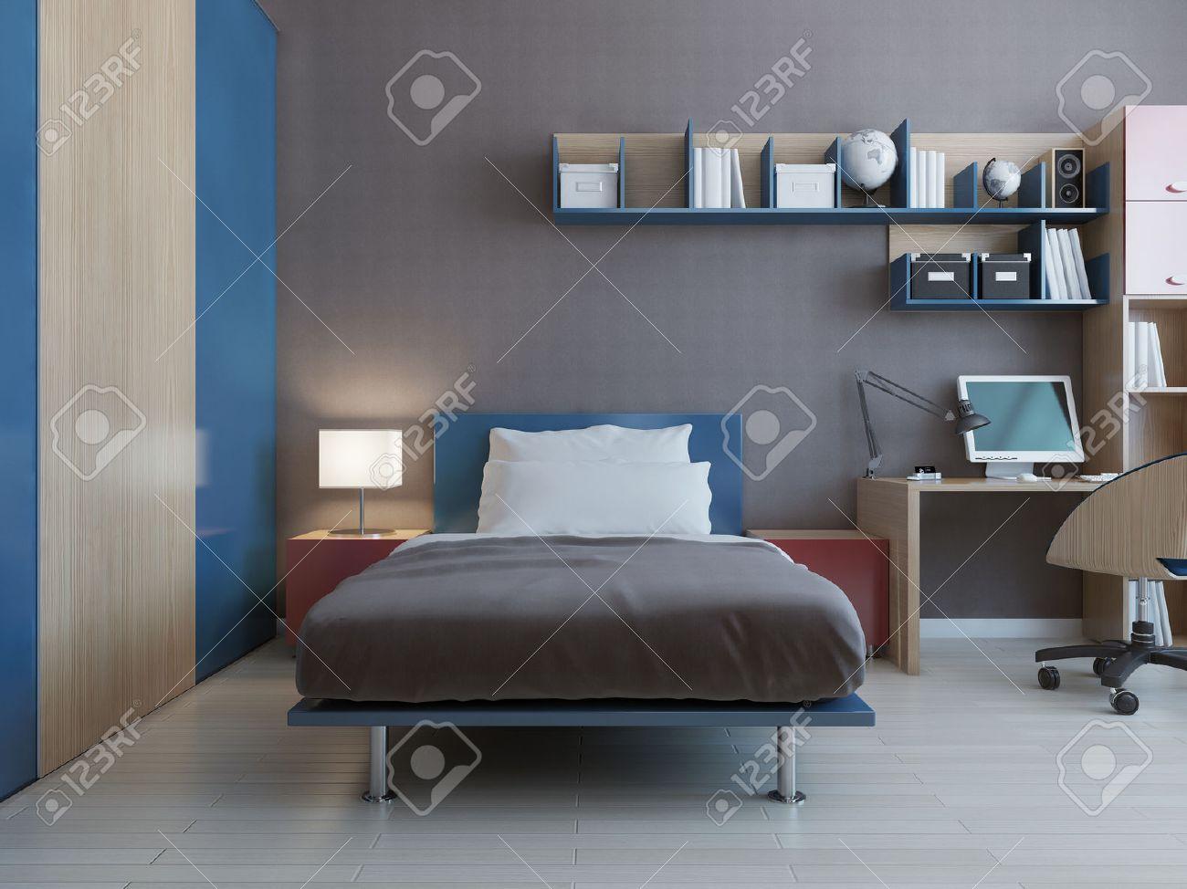 Tonåring sovrum inredning med blå och röd inredning och grå väggar ...
