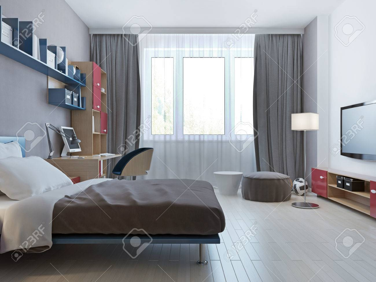 Bright Bedroom Minimalist Style With Single Bed For Children ...