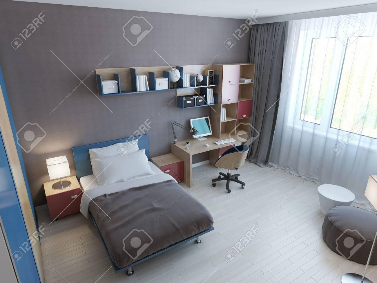 Panoramablick Auf Minimalistische Kinder Schlafzimmer. 3D übertragen ...