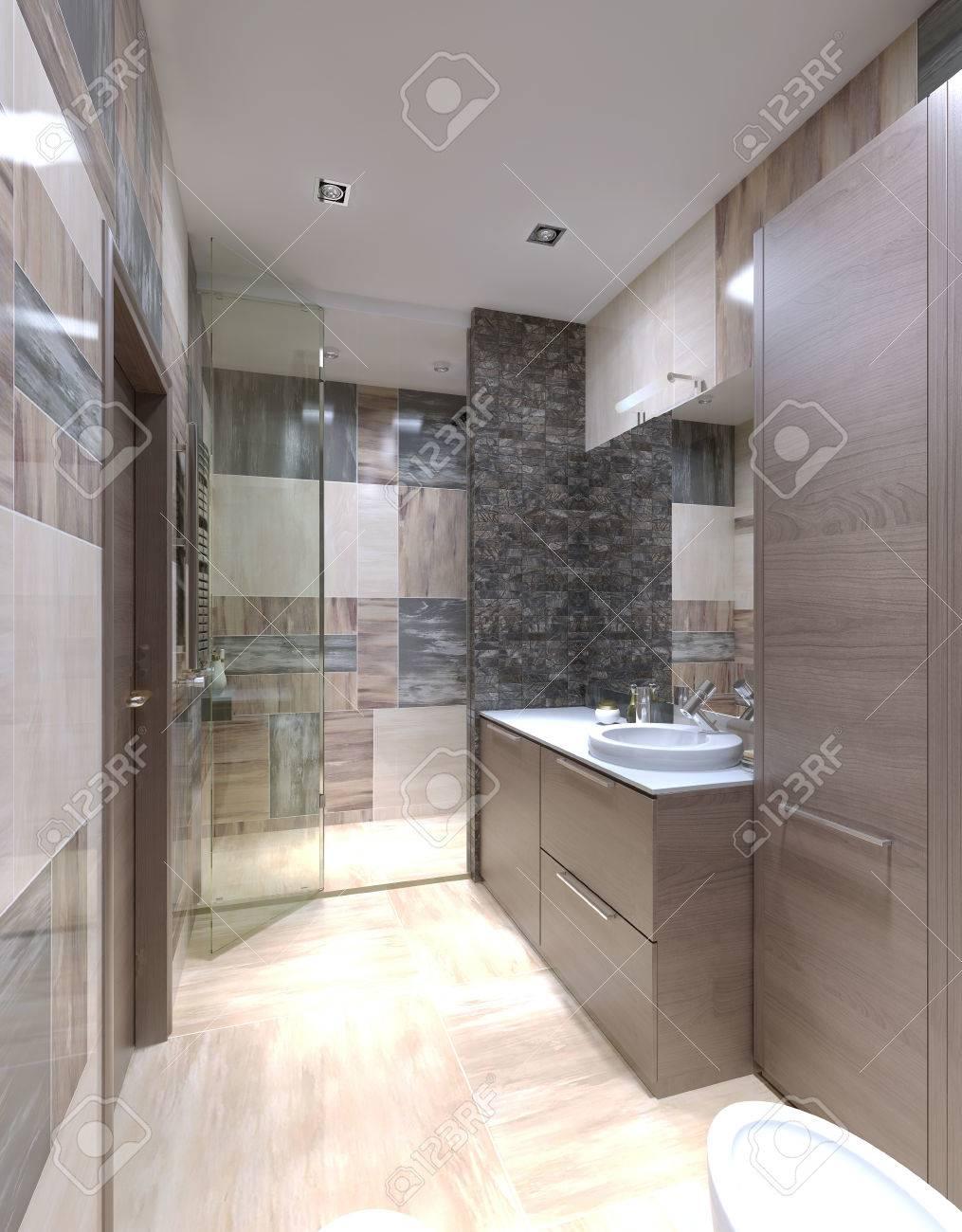 Cuarto de baño de estilo moderno. Paredes de azulejos mixtas, muebles de  color marrón claro, mueble con encimera blanca brillante. 3D render