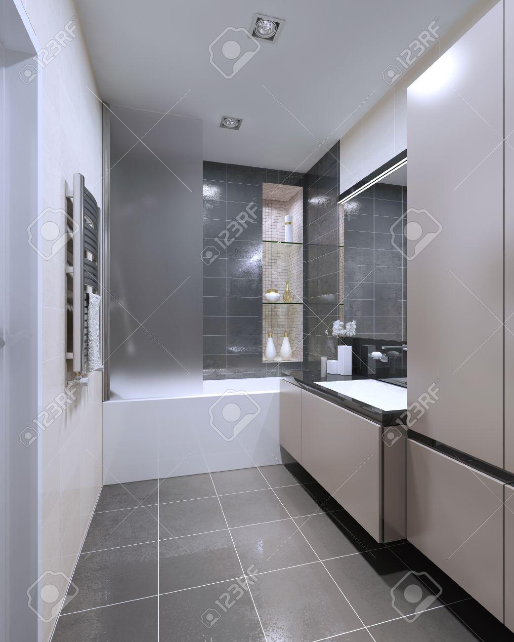 Salle De Bains Design Moderne. Matt Meubles, Douche Combinée Avec ...