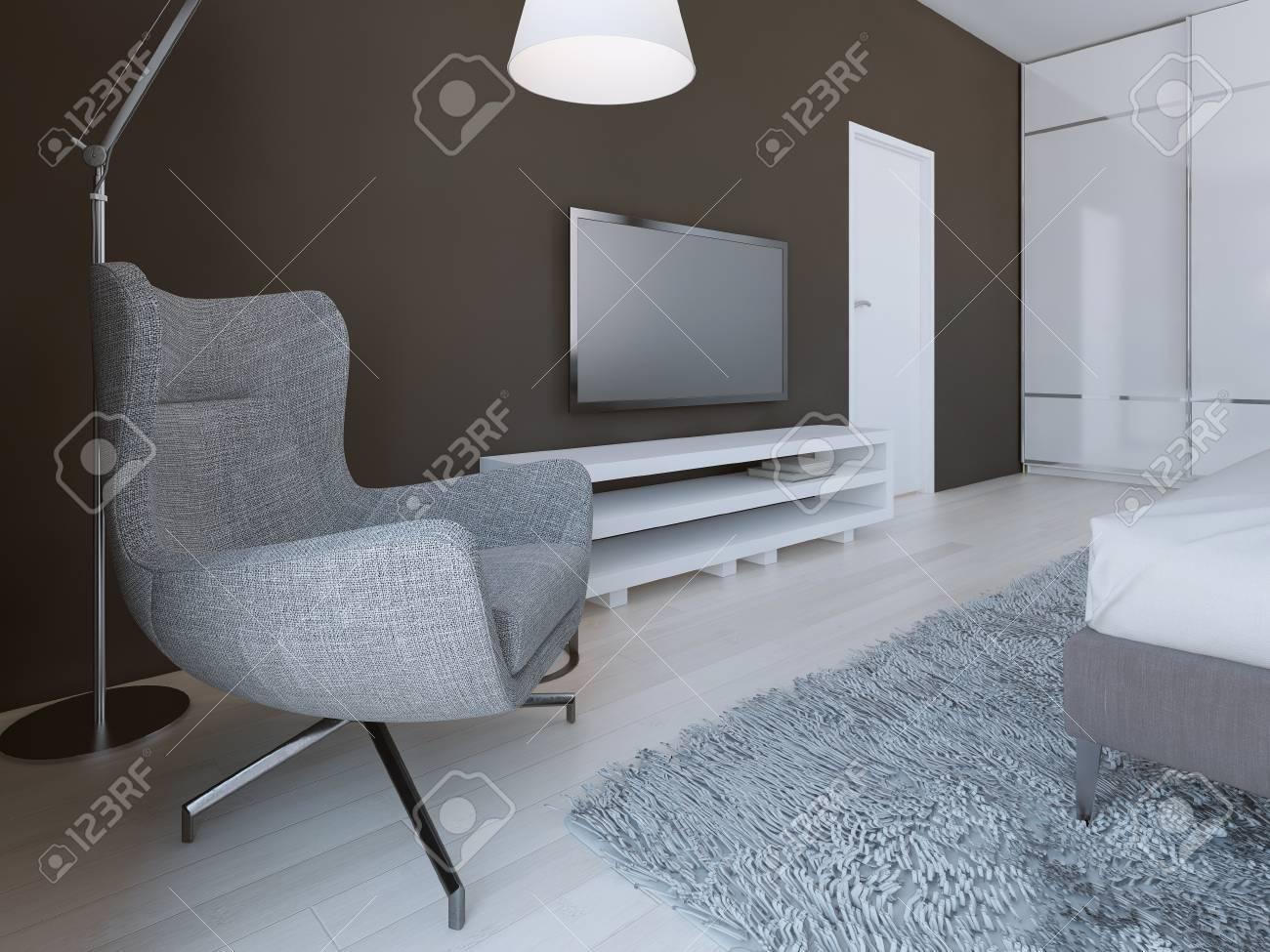 weiche graue sessel in minimalistischen schlafzimmer. 3d übertragen