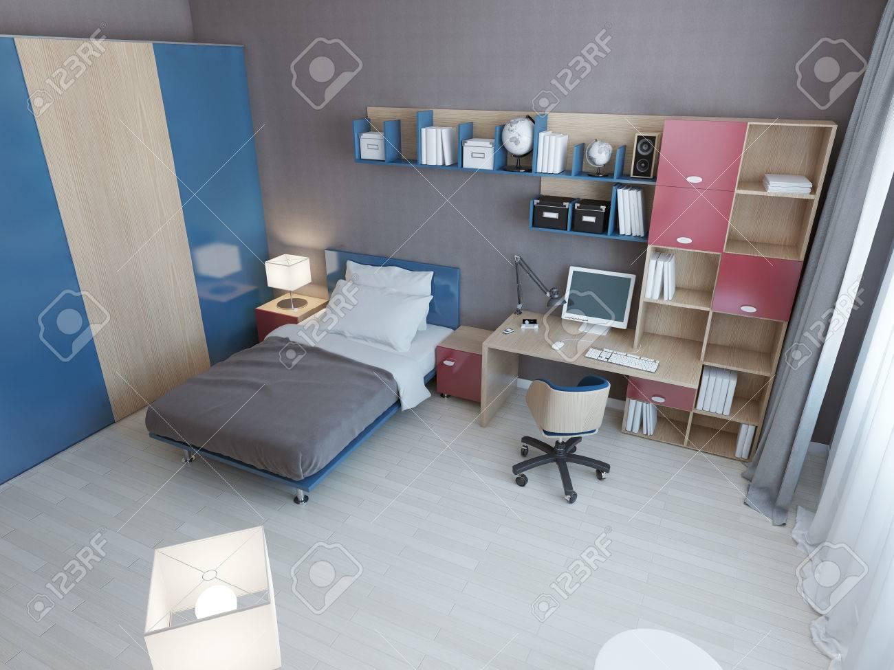 Idée d\'enfants de chambre moderne. Meubles Multicolore dans des couleurs  bleues et rouges, lit, espace de travail et un grand placard. 3D render