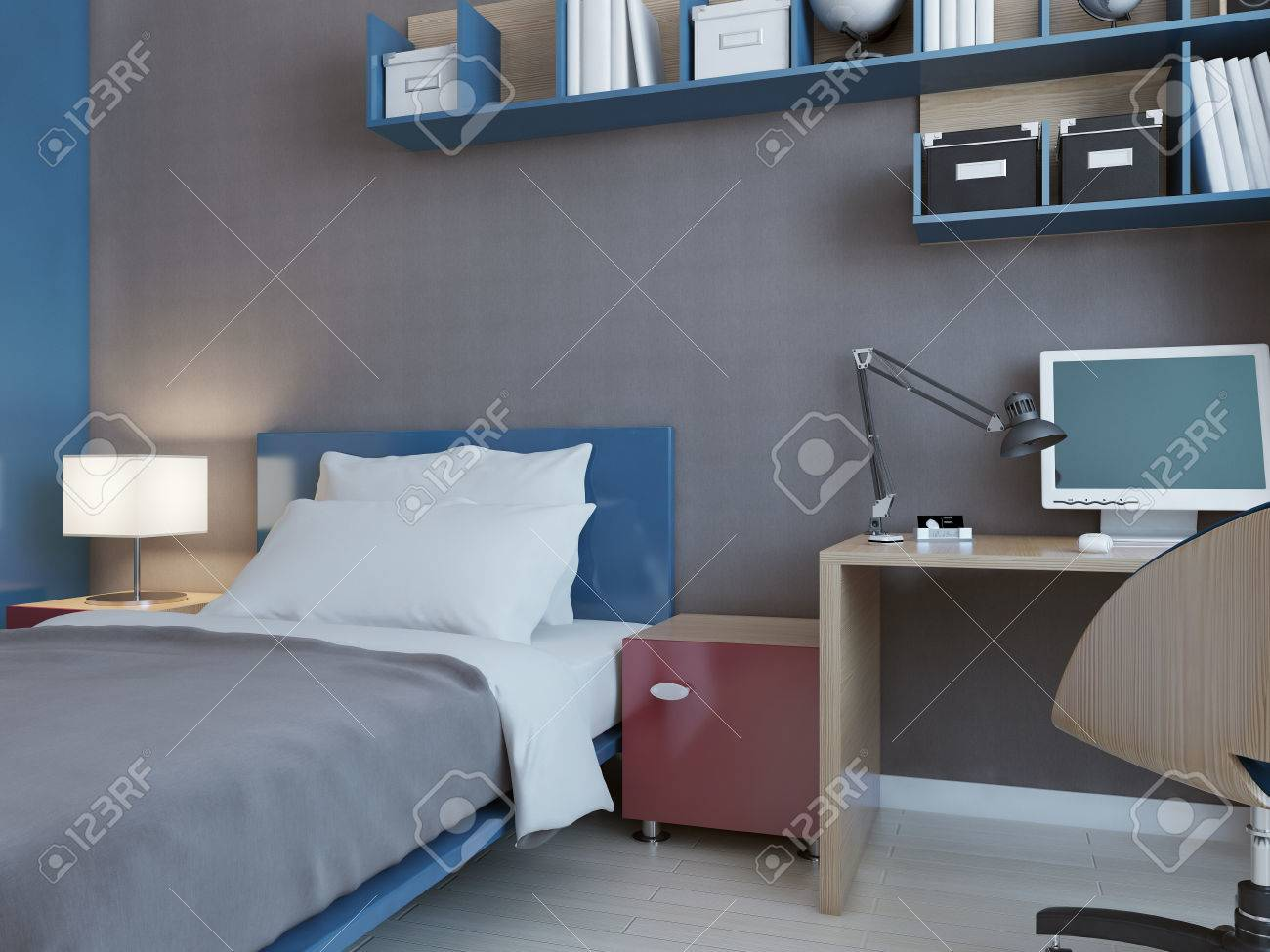 Grey and blue kids bedroom - Idea Of Children Bedroom With Grey Walls Blue And Red Decoration Minimalistic Wall System