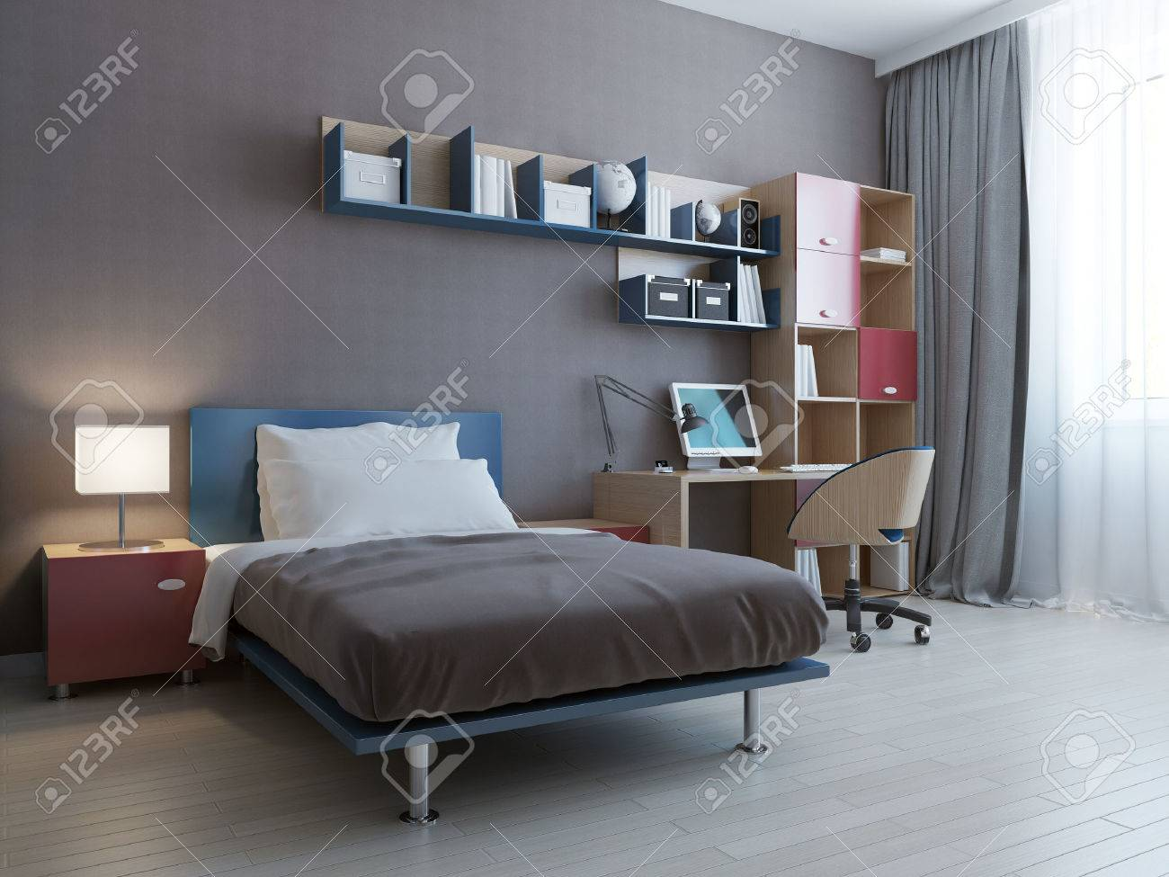 Gut Minimalist Wall System In Modern Bedroom. 3D Render Stock Photo   46424982