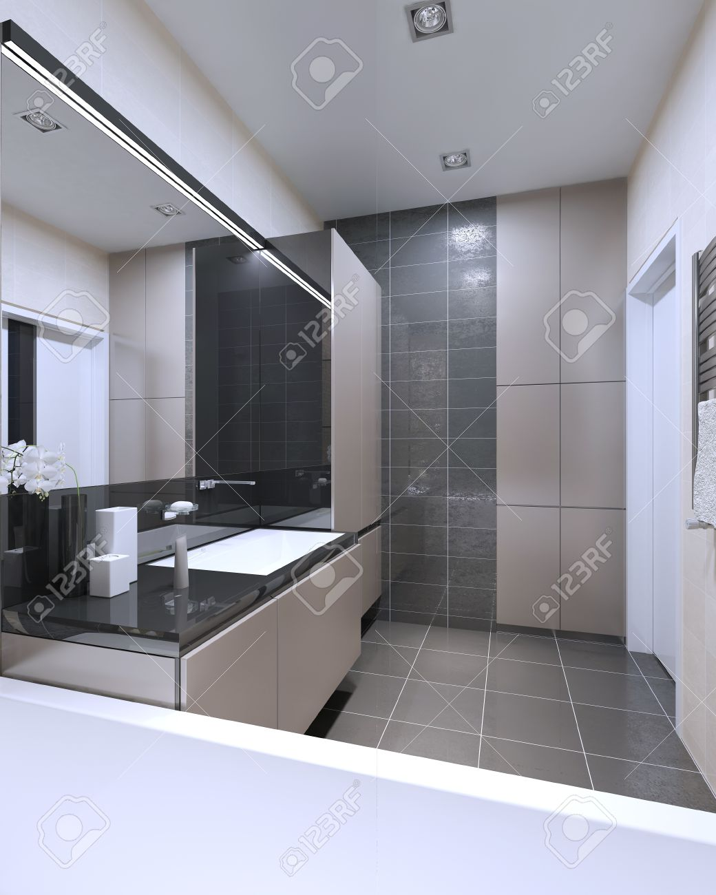 Idée de salle de bains avec des murs mixtes. intérieur high-tech de l\'un de  l\'intérieur la plus contrastée de la salle de bains, où utilise des ...