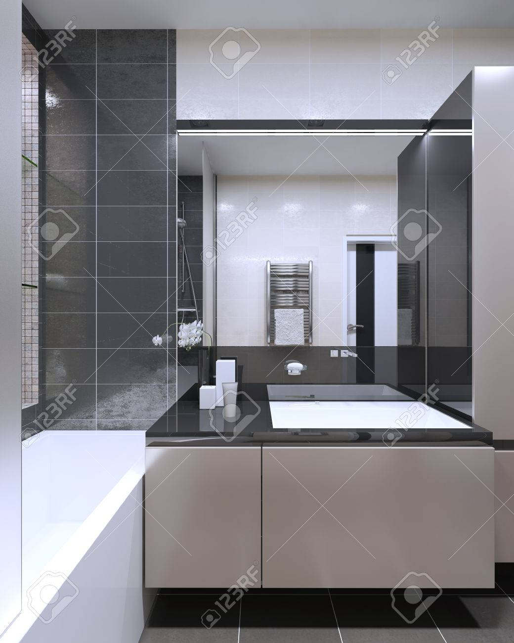 Bathroom Contemporary Style With Large Mirror With Neon Lamps, Peach Puff  Furniture With Anthracite Color